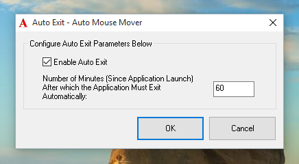 Auto Exit feature of Auto Mouse Mover to Stop Automatic Mouse Movements