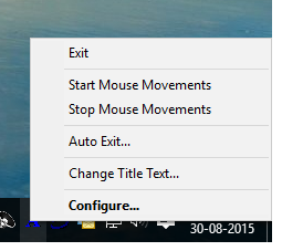 System Tray Menu of Auto Mouse Mover to Close Application or Configure Auto Mouse Movement Parameters