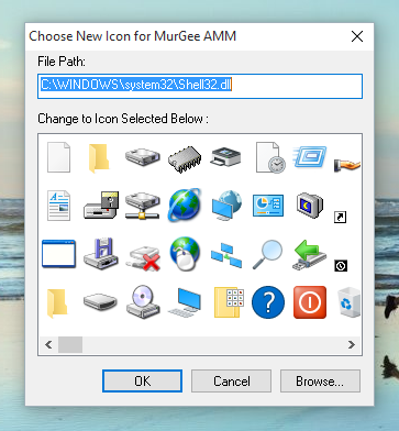 Choose New Icon for Auto Mouse Mover displaying Automatic Mouse Movements Status